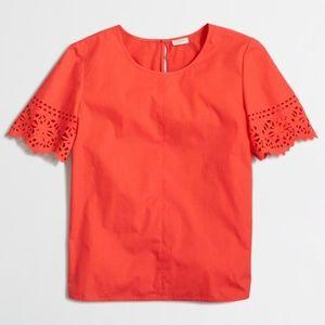 J Crew Coral Laser Cut Swing T-Shirt Size S